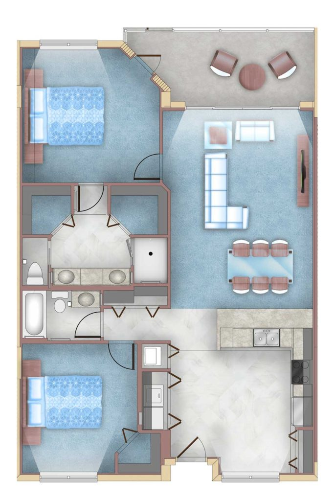 2 Bed, 2 Bath floorplan