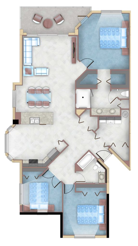 3 Bedroom, 2 Bath floorplan